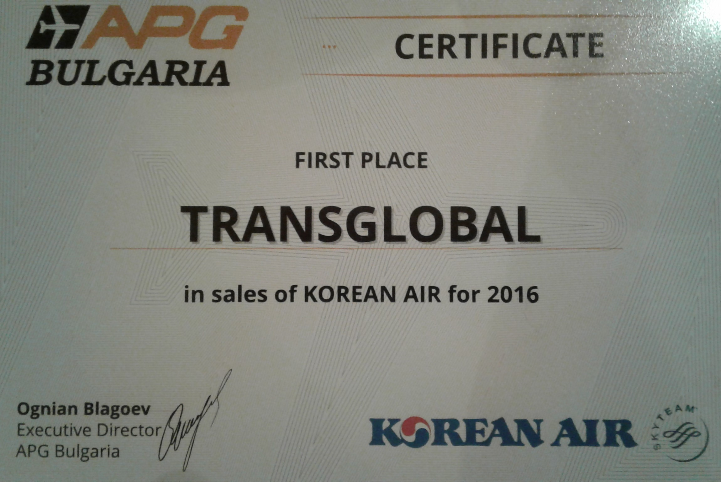 Korean Air Certificate