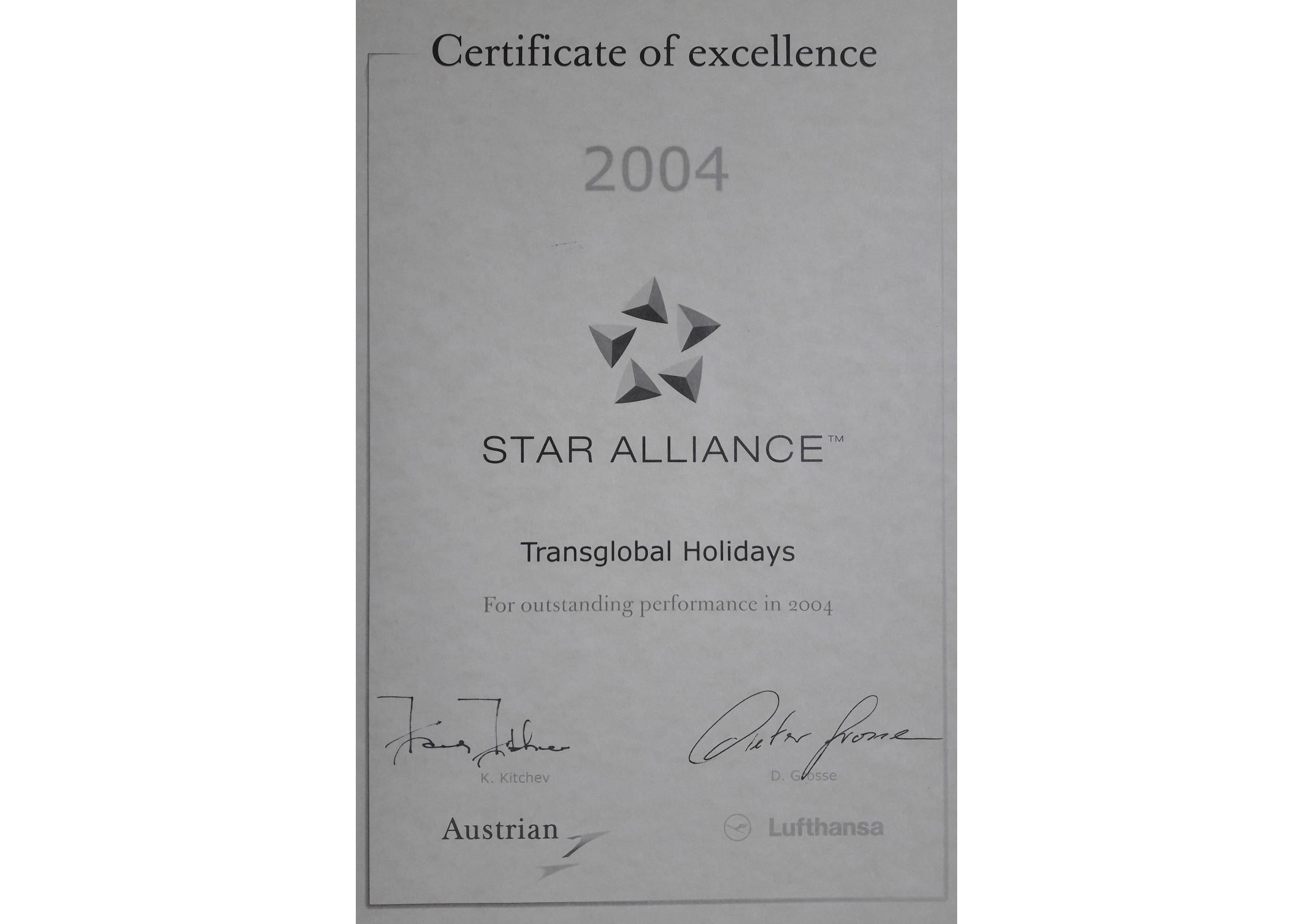 Star Alliance Certificate
